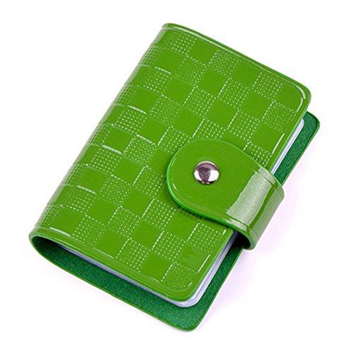 Damen Lady Lackleder Kreditkartekasten Halter Beutel Taschen Geldbörse (Grün) -