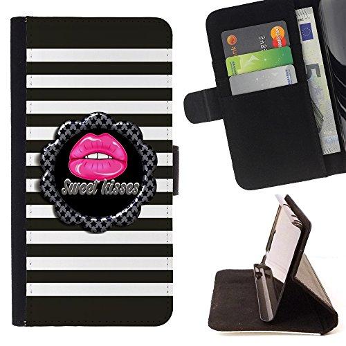 For HTC One Mini 2 M8 MINI,S-type Dolce bacio barra il reticolo Grigio Rosa - Disegno di cuoio di stile del raccoglitore della Case di telefono della pelle custodia protettiva