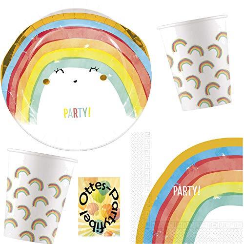 HHO Regenbogen-Party-Set Rainbow-Party Sommerparty 36tlg. für 8 Gäste Teller Papp-Becher Servietten (Servietten Teller Rainbow Und)