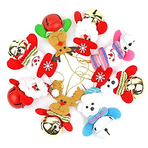 Christmas Tree Decorations Plush Bear with Jingle Bell Xmas Pendant Merry Christmas Hanging Ornaments by Yunhigh