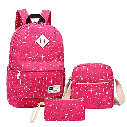 School Backpack Teen Girls School bag Set with Lunch Bag Pencil Case Rose Red