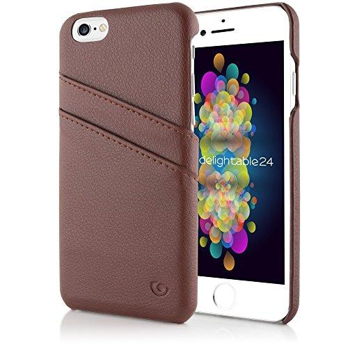 delightable24 Echtleder Designer SMART CASE Schutzhülle für Apple iPhone 6 / 6S Smartphone - Schwarz Braun
