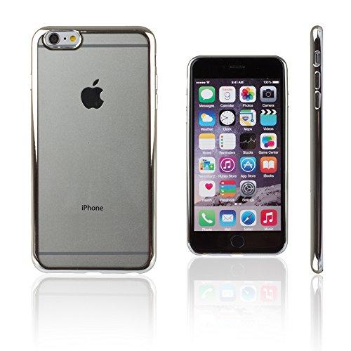 Xcessor Flex Ultradünn TPU Flexibel Gel Hülle für Apple iPhone 6 und 6S mit Bunten Kanten. Klar / Goldene Farbe Klar / Silber Farbe