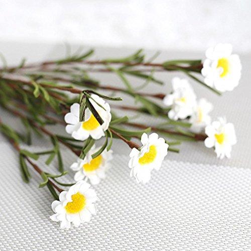 Mitlfuny Unechte Blumen,8 Köpfe Künstliche Seide Gefälschte Blumen Blatt Daisy Seidenrosen Plastik Köpfe Braut Hochzeitsblumenstrauß Home Decor (Weiß1)