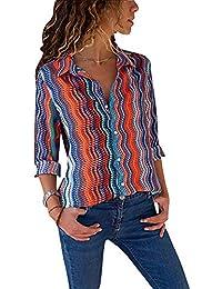 e3389172c4fdb Mujer Blusa Elegante Escote en V Botones Camiseta de Manga Larga Raya  Estampado Floral Camisetas Tops