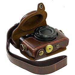 Étui pour appareil photo Sony RX100RX100II RX100III M3DSC-RX100III RX100M3- En cuir synthétique (polyuréthane) - Avec bandoulière