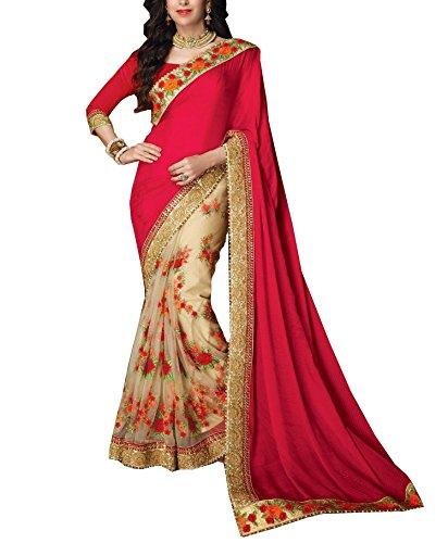 Vivera Women\'s Silk & Net Saree (VRKARISHMA_RANI)