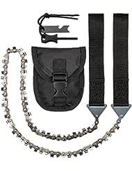 CampBuddy - Sierra de cadena manual con bolso para cinturón Esta sierra es perfecta para acampar al aire libre, como accesorio de supervivencia.