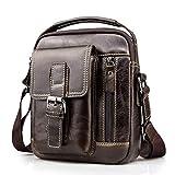 BULLCAPTAIN Herren Sling Bag Leder Herren Tasche Mini Schultertasche Sling Handtasche Männer Crossbody Bag für Arbeiten Schule Geschäft Reise