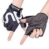Selighing Unisex Guantes de Bicicleta Ciclismo Guantes Moto de Medio Dedos para Gym Fitness Ejercicios (Negro, XL)