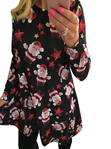 nachtsgeschenk Candy Kittel Weihnachten Ausgestellt Franki Santa Damen Lebkuchen Rentier Rudolph Mini Swing Kleid (EU 5XLarge(48), Schwarz-858) (Rentier Kleid)