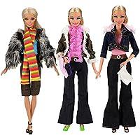 Miunana 3x Ropas Fashion con Abrigo Camiseta Pantalones Zapatos Bolso Accesorios Aleatorios como Regalo para Barbie