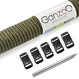 Ganzoo Paracord 550 SET, Armband, Hundeleine oder Hundehalsband zum selber machen; Seil mit 4mm Stärke, Verschluss aus Kunststoff (3/8