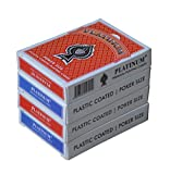 #10: The Ace Card Company Plastic Coated Linen Playing Cards (2 Red, 2 Blue) - 4 Pack