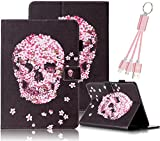 All Products : For iPad Mini Case,For iPad Mini 2 /Mini 3 Case,Vandot Smart Auto Sleep /Wake Multi-Function PU Leather Flip Stand Folding Cover Slim Fit Shock-Absorption Pratical Protective Wallet Case For iPad Mini 1/ 2/ 3+Universal For iPad /Android Multi 3in1 USB Cable-Skull Flowers