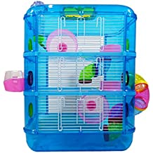 Hamster Cage | 3 Story With Tubes | Perfect For Hamsters And Gerbils | M&W (Blue).