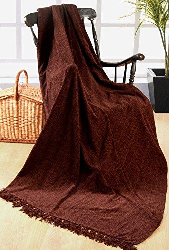 Elite Home Collection - Coperta di ciniglia, 100% poliestere, per divani a 3 posti o letti matrimoniali, 225 x 250 cm, colore: Cioccolato