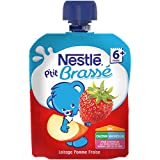Nestlé Bébé P'tit Brassé Pomme Fraise - Laitage dès 6 mois - 1 gourde 90g - Lot de 16