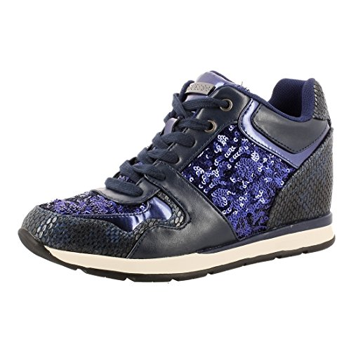 Guess Sneaker femme Laceyy Paillettes Wedge Cm 6 Tissu Cuir Black