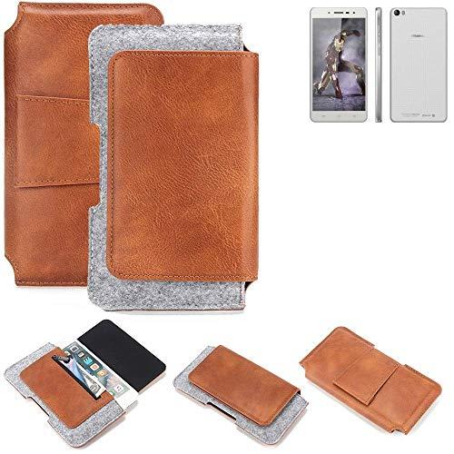 K-S-Trade® Für Hisense L671 Gürteltasche Schutz Hülle Gürtel Tasche Schutzhülle Handy Smartphone Tasche Handyhülle PU + Filz, Braun (1x)
