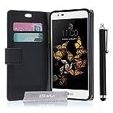 zStarLn® schwarz Hülle Leder Tasche für LG K8 Hülle Handytasche Zubehör Schutzhülle Etui + Stylus pen und 3 Films Schutzfolie
