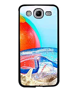 PrintVisa Designer Back Case Cover for Samsung Galaxy Mega 5.8 I9150 :: Samsung Galaxy Mega Duos 5.8 I9152 (Beach Sea Side Sand Colourful Foot Ball Water Sky Blue)