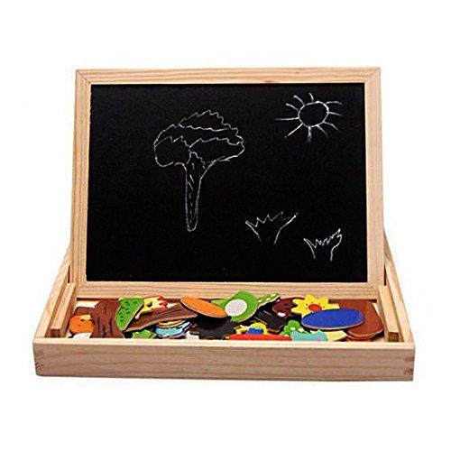 StillCool Holzpuzzle Magnetisches Spielzeug Holzpuzzle Kinderpuzzle Doodle Tafel aus Holz Holzspielzeug mit Bunt Tier Puzzle Holz Lernspiel für Kinder Kleinkind ab 3 Jahren