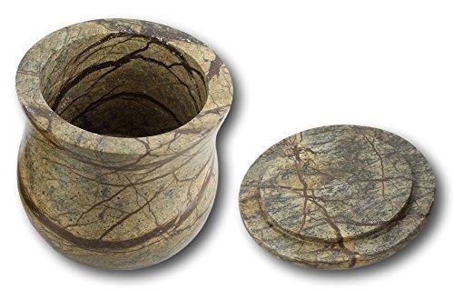 Shalinindia la main brun forestier rangement marbre Jar 3,5 X 3,5 pouces