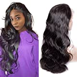 Maxine Human Hair Body Wave Lace Front Wig 100% Real Brazilian Hair 180% Density Front Lace Wig For Black Women Natural Black Color with Adjustable Straps 12""