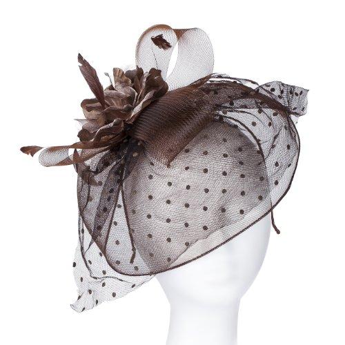 Highgrove Fascinator, Kopfschmuck, Vintage-Stil Mit einer weichen Nylonnetzkante zur Teilbedeckung des Gesichts; großes Satin- & Organza-Ansteckbouquet auf Netzmaschen, in 6 Farben erhältlich