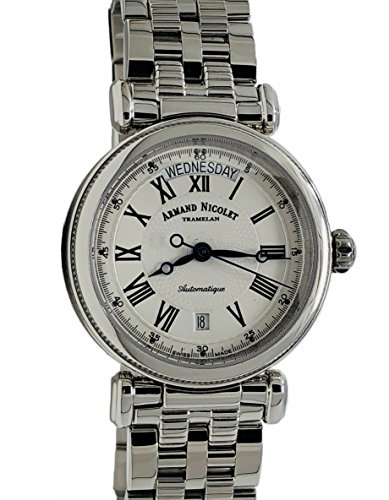 Armand Nicolet Arc Royale 9430A-AG-M9430 Automatic Watch Day and Date Stainless Steel Swiss Made Silver