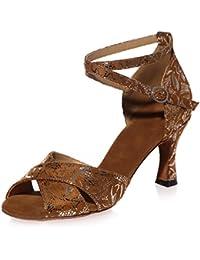 Elobaby Zapatos De Baile para Mujer Satin Latin High Heel Sexy Salsa Peep Toe Moderno/7.5cm Heel/A8349
