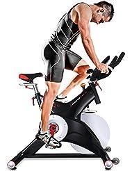 Sportstech Vélo de Biking professionnel d'appartement SX500 Vélo d'intérieur commandé par application Smartphone + Google Street View, poids d'inertie 25 Kg, supports pour bras, pédales avec cales SPD