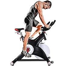 Bicicleta Estática Profesional Sportstech SX500 con control de aplicaciones por smartphone, Google Street View, soporte alcochado para brazos, pulsometro compatible, pedestale con sistema SPD click