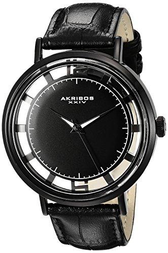Akribos XXIV Men's AK860BK Transparent Dial Black Leather Strap Watch