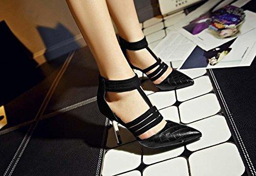 NobS Ankle Strap Sandals Punta Indicata Donne Piccole Large Size 33-43 Alto Tallone Pompa Leopard Estate Calzature Black