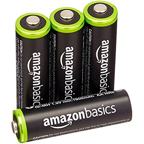 AmazonBasics - Juego de 4 pilas recargables AA Ni-MH (precargadas, 1000 ciclos, 2000mAh, mínimo 1900mAh)