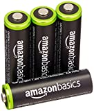 AmazonBasics Lot de 4 piles rechargeables Ni-MH Type AA 1000 cycles 2000 mAh/minimum 1900 mAh (design variable)