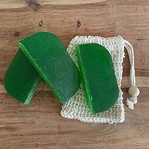 Festes Shampoo 3x90g Thymian und Minze mit 1 Sisalsäckchen (10cm x 19cm)