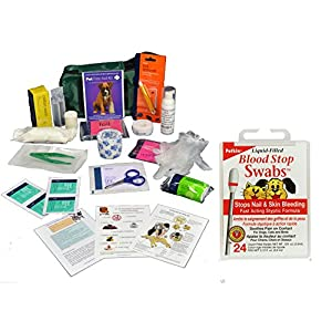 Warwick Comprehensive Pet First Aid kit includes Blood Stop Swobs 8