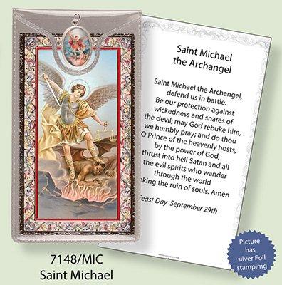 St Saint Michael Aluminium Argenté gravé verset Carte de Prière et Médaille Pendentif - Foil Ciondoli