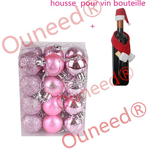 Boule de Noel Sapin de Noel Boules 3cm 24pcs Ambiance Decoration Noel (Rose)