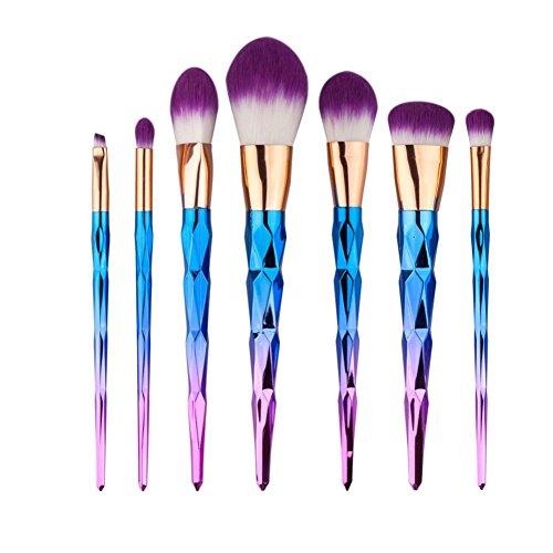 BZLine® Pinceau Maquillage, 7Pcs Pinceaux Professionnel & Brush Cosmétique pour les Poudres, Anticernes, Contours, Fonds de Teints et Eyeliner - Violet