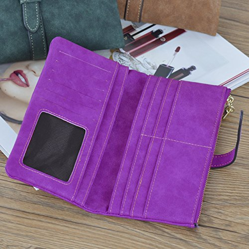 Gr8Life Portafoglio in pelle borsa lunga delle donne Rose-Red Viola