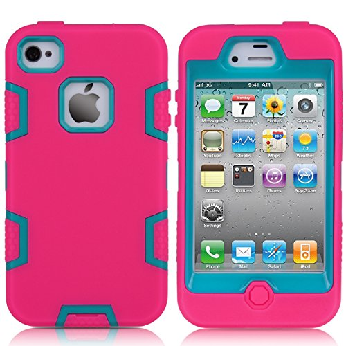 casefirst iPhone 4 4s Case, Back Case Soft Shell Protective Durable Shockproof Case for iPhone 4 4s - Hot Pink + Blue (4s Case Iphone Carry Für)