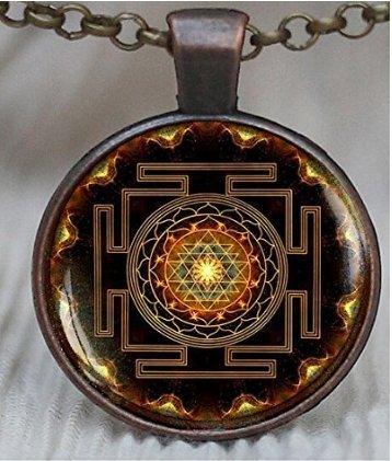 Sri Yantra Anhänger, heilige geometrie Schmuck, Sri Yantra Schmuck, Schmuck für Herren, Halskette für Männer, Sri Yantra Halskette, buddhistische (Yantra-halskette)