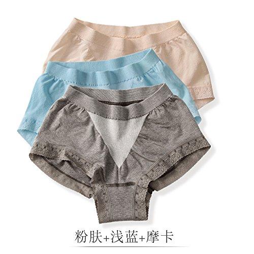 HZH Micro abdomen elastic cotton lady's underwear, pure cotton quality track, briefs, briefs, waist, lace, girl's shorts, 3 pieces.