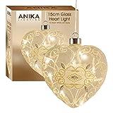 Anika 63150Hängendes Herz mit 10batteriebetrieben LED-Lichtern in warmem Weiß, Glas, transparent, 15cm