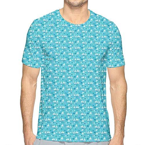 3D-Bedruckte T-Shirts, Unterwasser-Sea Elements Turtles Sea Horses Shells und Floating Boat