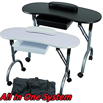 Lillyvale® Portable Folding Foldable collapsible Manicure Table Nail Technician Workstation Art Desk Pull Out Drawer + Carry Bag + Wrist Rest